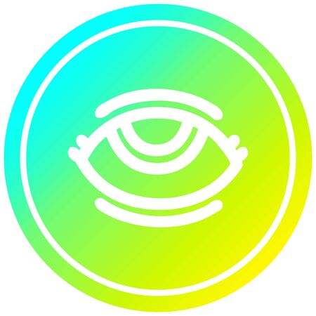 eye with cool gradient finish circular icon with cool gradient finish