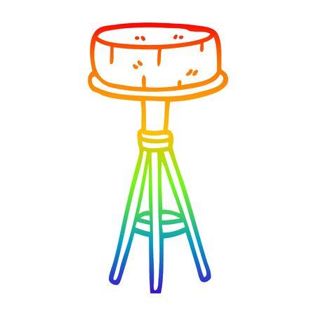 rainbow gradient line drawing of a cartoon breakfast stool Stock fotó - 129411683