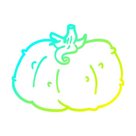cold gradient line drawing of a cartoon winter squash