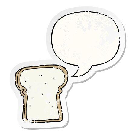 cartoon slice of bread with speech bubble distressed distressed old sticker Standard-Bild - 129411674