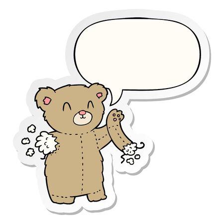 cartoon teddy bear with torn arm with speech bubble sticker