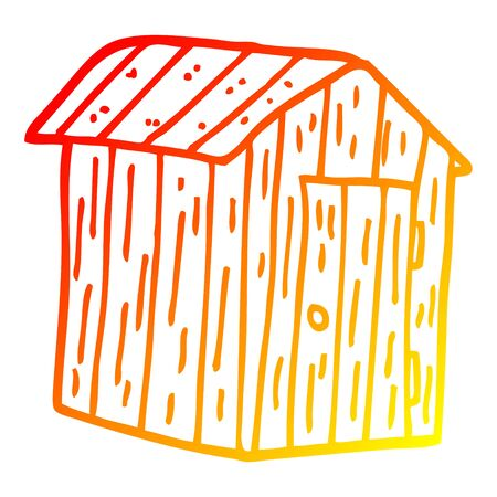 warm gradient line drawing of a cartoon wood shed