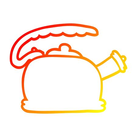 warm gradient line drawing of a cartoon whistling kettle