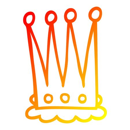 warm gradient line drawing of a cartoon crown Illustration