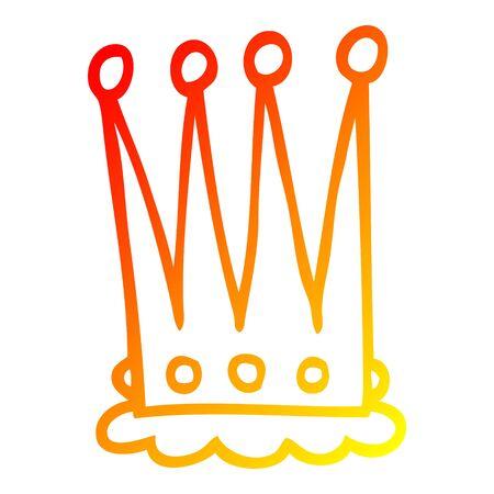 warm gradient line drawing of a cartoon crown Reklamní fotografie - 129412849