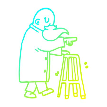 cold gradient line drawing of a cartoon old man with walking frame