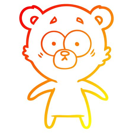 warm gradient line drawing of a worried bear cartoon