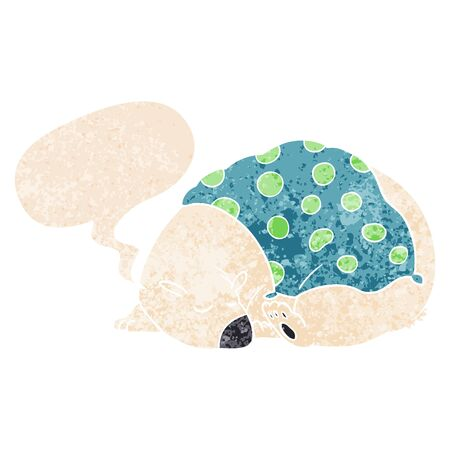 cartoon polar bear sleeping with speech bubble in grunge distressed retro textured style