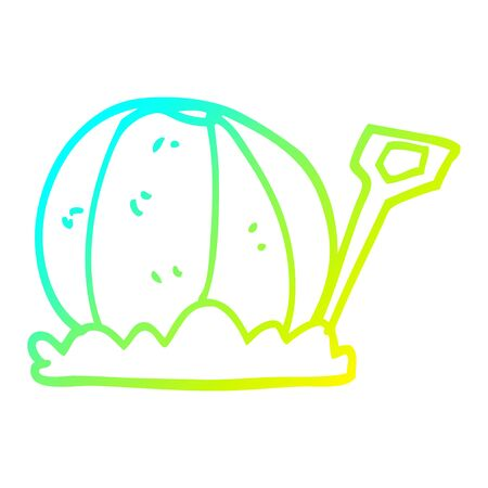 cold gradient line drawing of a cartoon beachball and spade