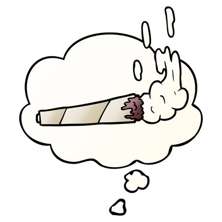 cartoon marijuana joint with thought bubble in smooth gradient style Ilustração