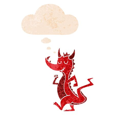 cartoon cute dragon with thought bubble in grunge distressed retro textured style Ilustração