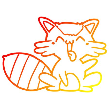 warm gradient line drawing of a cute cartoon raccoon Banque d'images - 129414386