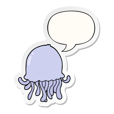cartoon jellyfish with speech bubble sticker 向量圖像