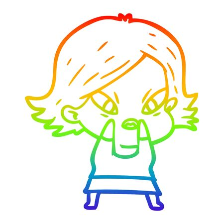 rainbow gradient line drawing of a cartoon stressed woman
