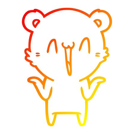 warm gradient line drawing of a happy bear cartoon