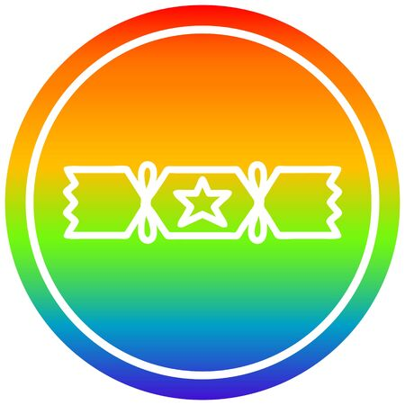 christmas cracker circular icon with rainbow gradient finish