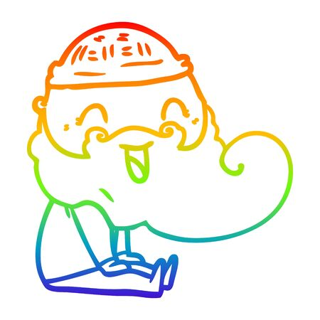 rainbow gradient line drawing of a happy bearded man sat down laughing