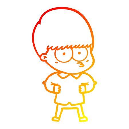 warm gradient line drawing of a curious cartoon boy