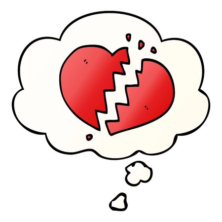 cartoon broken heart with thought bubble in smooth gradient style