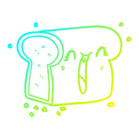 cold gradient line drawing of a cartoon laughing loaf of bread