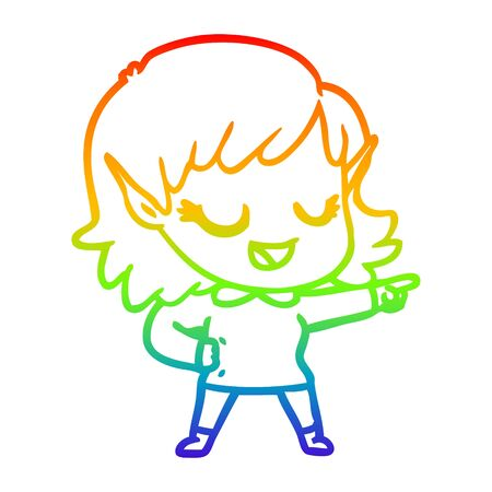 rainbow gradient line drawing of a happy cartoon elf girl pointing