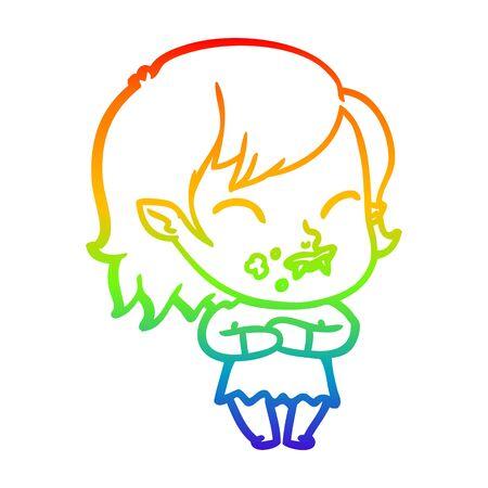 rainbow gradient line drawing of a cartoon vampire girl with blood on cheek Иллюстрация