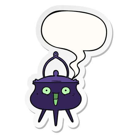 halloween cauldron cartoon with speech bubble sticker Ilustracja