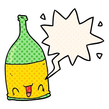 cartoon wine bottle with speech bubble in comic book style