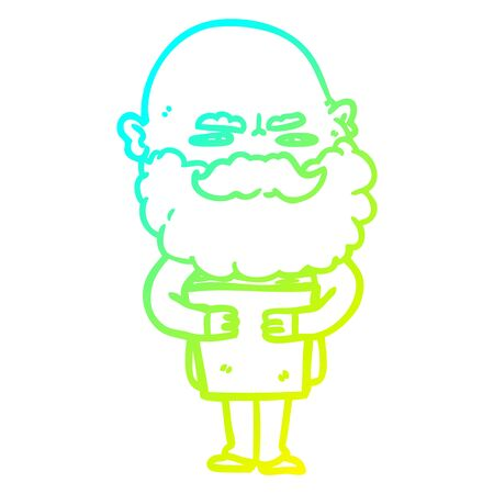 cold gradient line drawing of a cartoon man with beard frowning