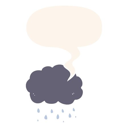 cartoon cloud raining with speech bubble in retro style Illustration