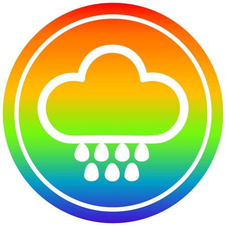 rain cloud circular icon with rainbow gradient finish Standard-Bild - 129414654