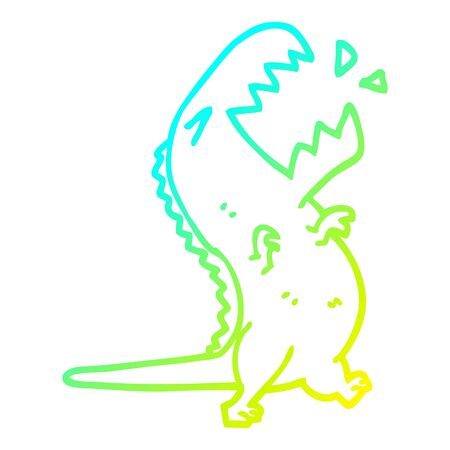 cold gradient line drawing of a cartoon roaring t rex