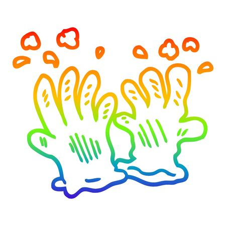 rainbow gradient line drawing of a cartoon sterile gloves Иллюстрация