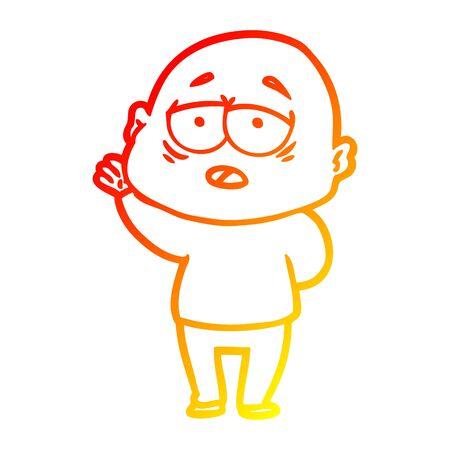 warm gradient line drawing of a cartoon tired bald man Иллюстрация