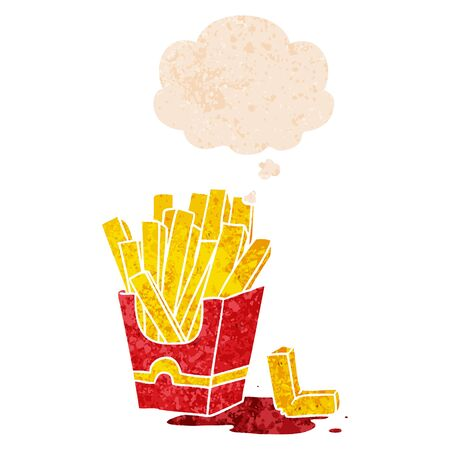 cartoon fries with thought bubble in grunge distressed retro textured style Ilustração
