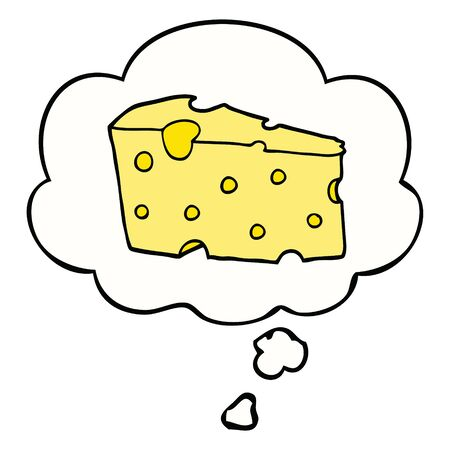 cartoon cheese with thought bubble Illustration