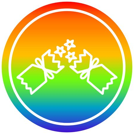 exploding christmas cracker circular icon with rainbow gradient finish