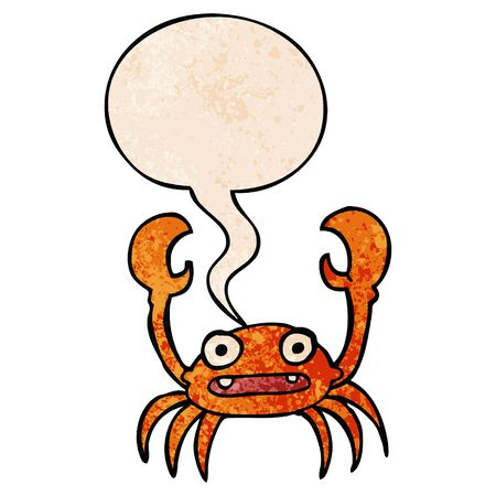 cartoon crab with speech bubble in retro texture style  イラスト・ベクター素材