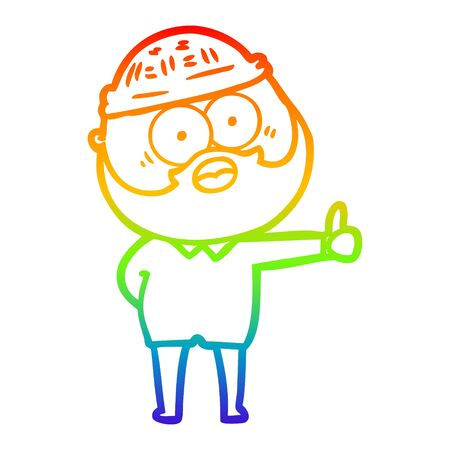 rainbow gradient line drawing of a cartoon bearded man giving thumbs up sign