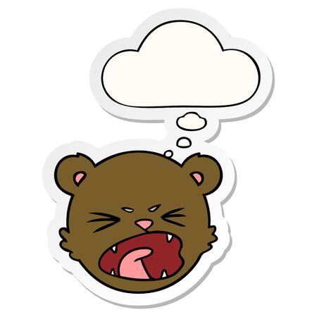 cute cartoon teddy bear face with thought bubble as a printed sticker