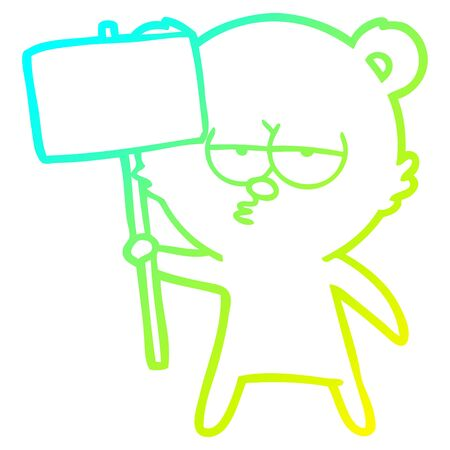 cold gradient line drawing of a bored polar bear cartoon with sign