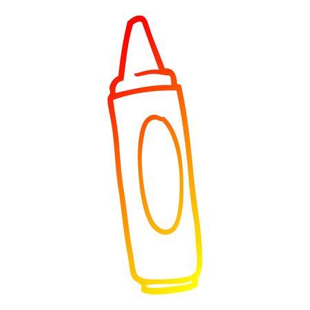 warm gradient line drawing of a cartoon coloring crayon