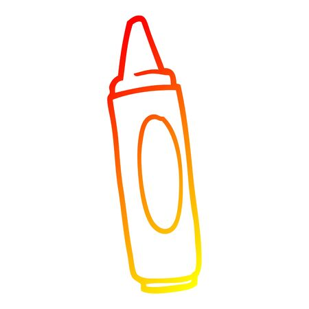 warm gradient line drawing of a cartoon coloring crayon
