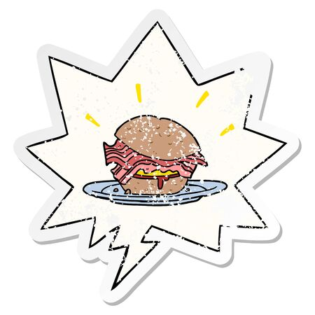 cartoon amazingly tasty bacon breakfast sandwich with cheese with speech bubble distressed distressed old sticker