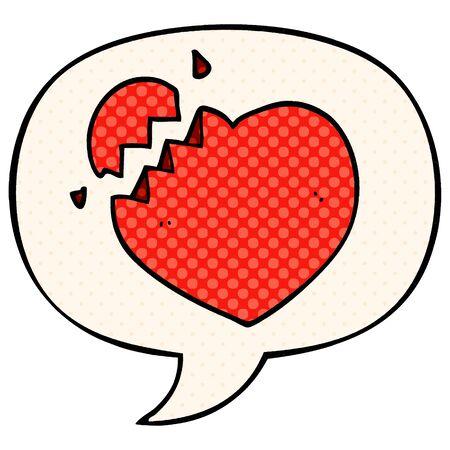 cartoon broken heart with speech bubble in comic book style Stock Illustratie