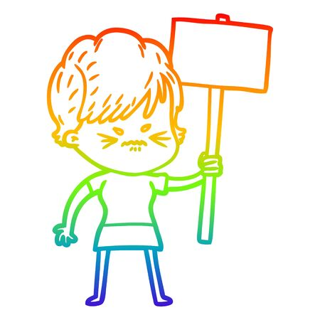 rainbow gradient line drawing of a cartoon frustrated woman Иллюстрация