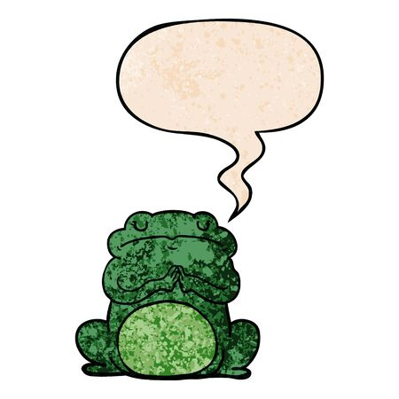 cartoon arrogant frog with speech bubble in retro texture style Illusztráció