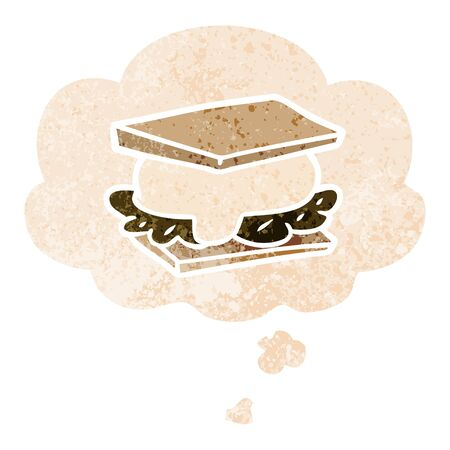 smore cartoon with thought bubble in grunge distressed retro textured style