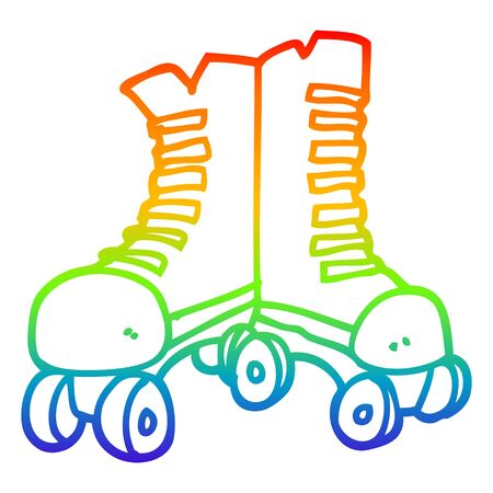 rainbow gradient line drawing of a cartoon roller boots Illustration