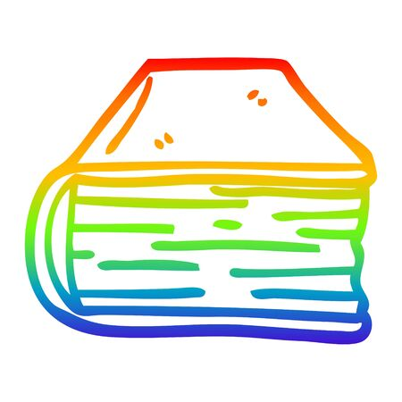 rainbow gradient line drawing of a cartoon old book